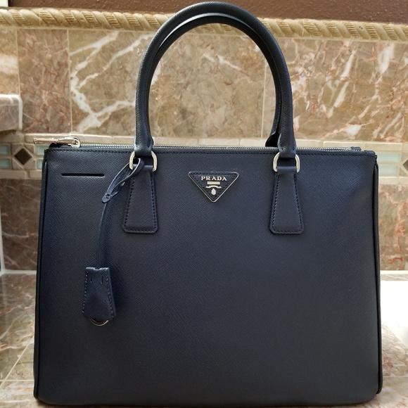 9cf9bf2d2291 Prada Bags | Saffiano Baltic Blue Leather Tote Bag | Poshmark